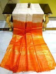 Plain Orange Tussar Ghicha Silk Handloom Saree, 5.70 m