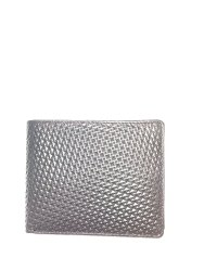 Bi-fold Silver Textured Leather Wallets