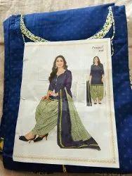 Casual Wear Blue Stitched salwar suit pure cotton