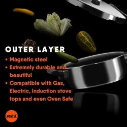 Silver Stainless Steel 3.3 Ltr Stahl Xpress Triply Outer Lid Pressure Cooker, For Kitchen, Capacity: 1.5 Litre