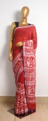 Casual Wear Multicolor Printed Linen Saree, 6 m (with blouse piece)