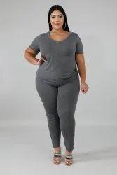 Four Way Lycra Grey Plus Size Sports Leggings