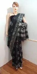 Batik Print Casual Wear Cotton Slub Saree, With Blouse, 6.3 m
