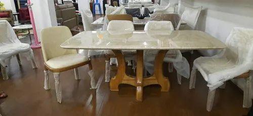 Cream Italian Marble Dining Table Rs 95000 Set Sai Veerabhadreshawara Furniture Id 22536077455