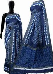 Party Wear Printed Indigo Saree Chanderi Silk Geecha Border, 6.3 m (with blouse piece)