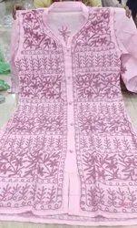 Cotton Casual Wear Women''s Embroided Kurti(Pink)