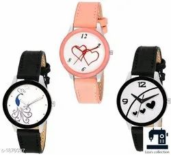 Stylish Leather Ladies Analog Watches Material: Leather
