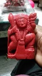 Red Coral Moonga God Statue