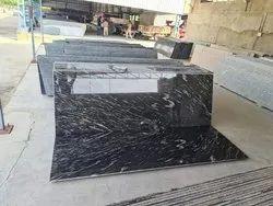 Polished Big Slab Mejestic black granite, For Flooring, Thickness: 10-15 mm