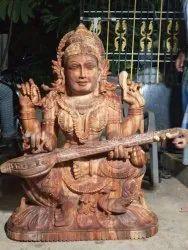 Wooden Sculpture Saraswathi