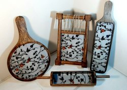 Multicolor Wooden Platter set