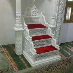 Indoor White Mimbar Masjid