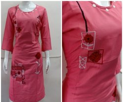 Casual Wear Straight Fancy Rayon Embroidery Kurti, Wash Care: Handwash