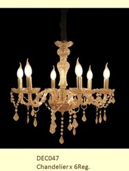 Candle-Style Glass Hanging Chandelier