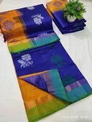 Shivsaicollectionx Festive Wear Tripura Silk Saree, 6.3 m (with blouse piece)