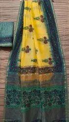 Bagru Print Chanderi Silk Saree, 6.3 m (with blouse piece)