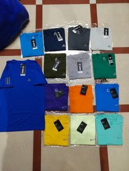 Men''s 4 Way Lycra Doted Net Dry- Fit Half T- Shirt