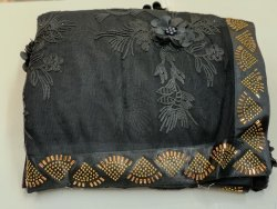 Net Chain Stich Work Party Wear Designer Saree, With blouse piece, 5.5 m (separate blouse piece)