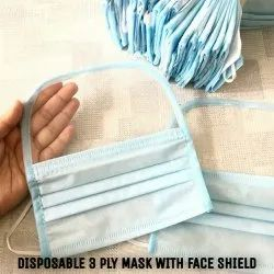 Disposable 3 Ply Mask With Face Shield
