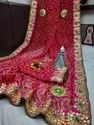 Ligalz Present Bandhni With Butta Saree With Blouse