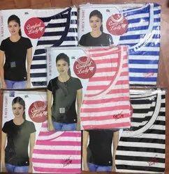 Half Sleeve Round Comfort Lady Linings T-Shirt, 180