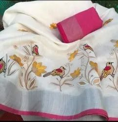 Party Wear Cotton Slab Embroidery Sarees, 6.3 m (with blouse piece)
