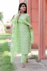 Cotton Kurti With Pant And Duptta Set