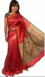 Party Wear Plain Raw Sillk Saree, 6.3 m (with blouse piece)