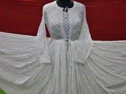 Chikankari Viscose fabric Wedding Gown, Size: Free