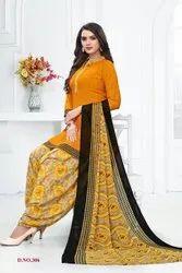 Malishka Leon crepe Printed Synthetic Salwar Suit, Handwash
