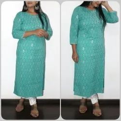 Cotton Kurti with Zari Block Print