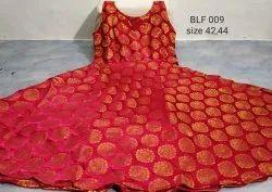 Plain Beautiful Banaras Silk Umbrella Cut Long Frock