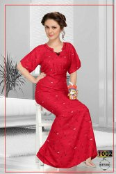 Full Length Printed Women Rayon Night Gowns, Free Size, 20 To 60