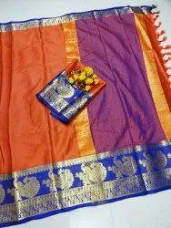 SME Brand Zari Silk Saree, Machine wash