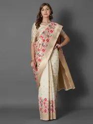 Shreeji Party Wear banarasai blend silk zari border saree