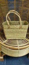 Brown Rectangular Kauna grass bag and basket, 300gm, Weaving