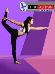 Mid Waist Cotton Lycra Yoga Pants, Slim Fit