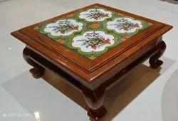 Wooden Rectangular Big size teak wood stool handicrafted over Italian tile
