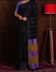 Black Pure Linen Saree, With blouse piece, 5.5 m (separate blouse piece)