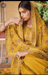 Yellow Bridal Ladies Embroidered Salwar Suit, Dry clean