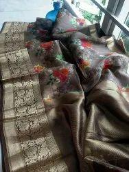 Pure Banarasi Organza Silk Digital Printed Sarees