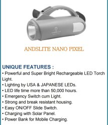 Plastic Andslite Nano Pixel Torch, Battery Type: Lithium Ion