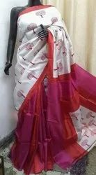 Hand Block Prints On Tussar Silk Sarees