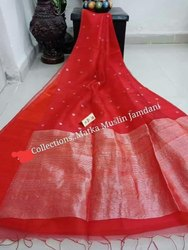 Embroidered Matka Muslin Silk Jamdani Sarees, 6.3 m (with blouse piece)