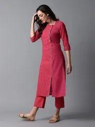 Rayon Ankle Length red women kurta
