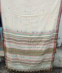 Pure Cotton Bhujodi Saree, With Blouse, 6.3 m