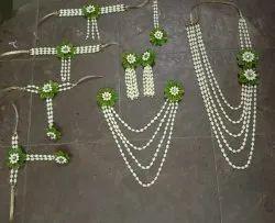 Real flower jwellary, mehadi, haldi , sanji, godbharayi ceremony set