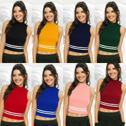 Sleeveless Round Women Crop T Shirt, 180