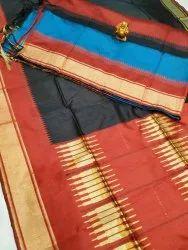 Happy Prints Printed Party Wear Maheshwari Silk Saree, 6.30 Meter