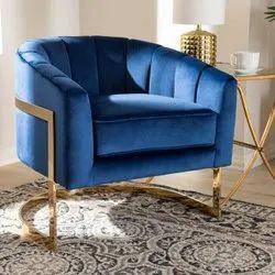 Royal Blue Velvet Living Room Chair